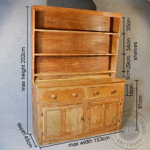Antique Victorian Pine Dresser Welsh Country Kitchen Display Cabinet C1900