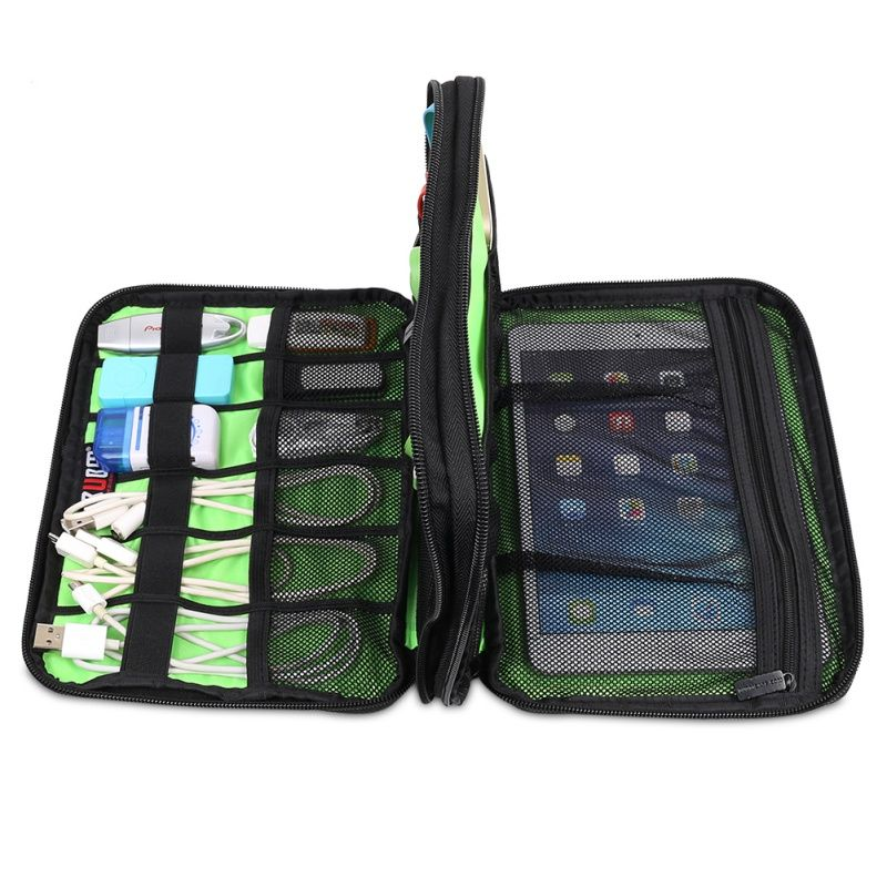 Bag Portable Storage Case Large Double Layer Cable Organizer