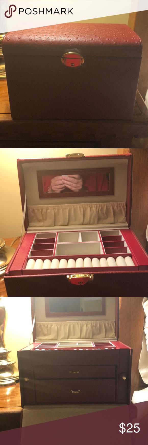 Red Brown Leather Jared Jewelry Box Jared Jewelry Leather Jewelry Box Jewelry Box