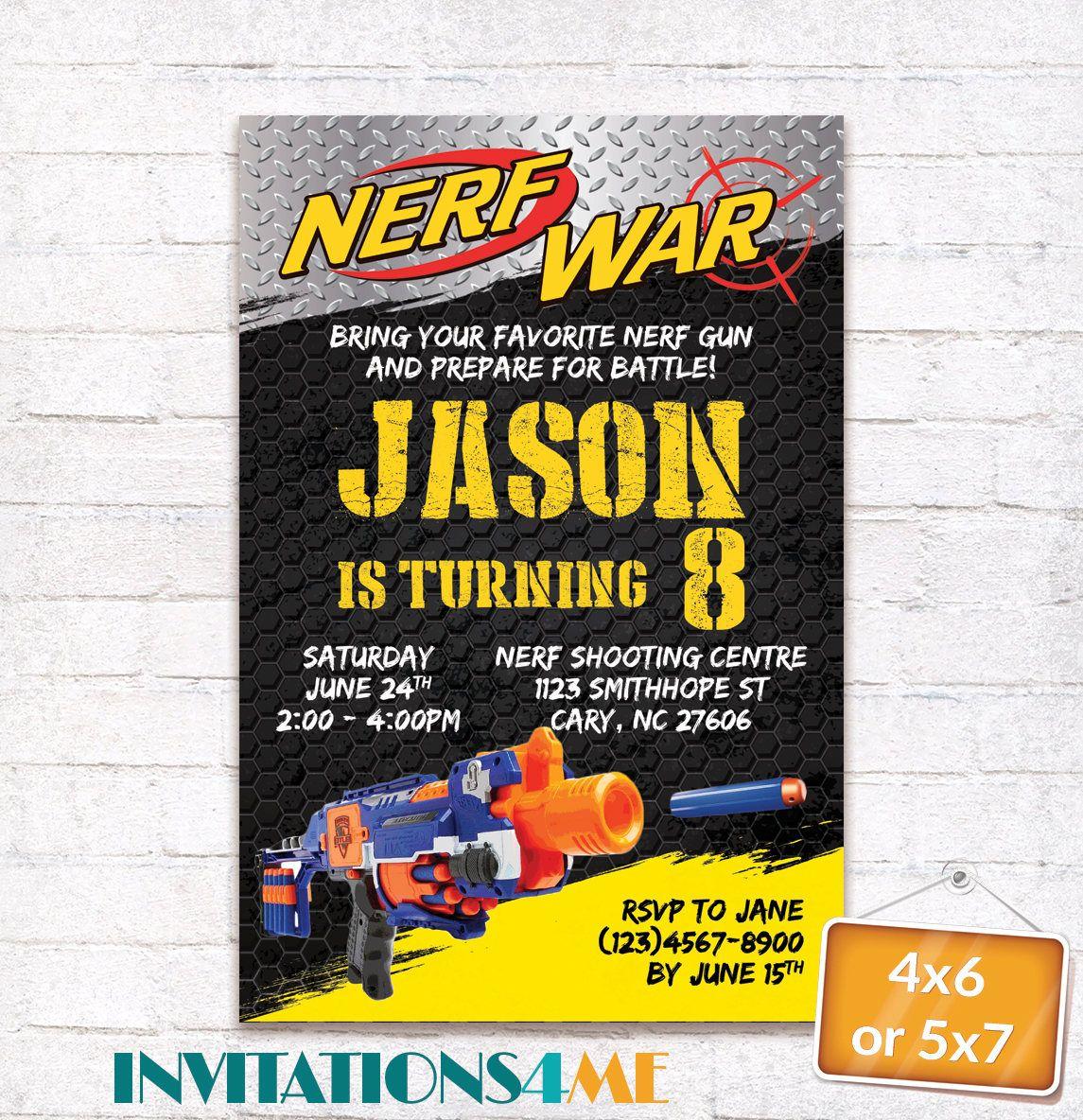 Nerf Invitation Nerf Wars Battle Birthday Party Invite Nerf Darts ...