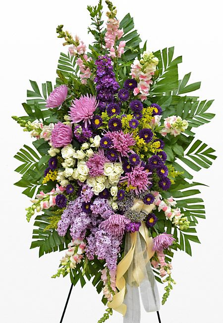 Funeral standing spray with purple aster, lilac, stock, and spider ...