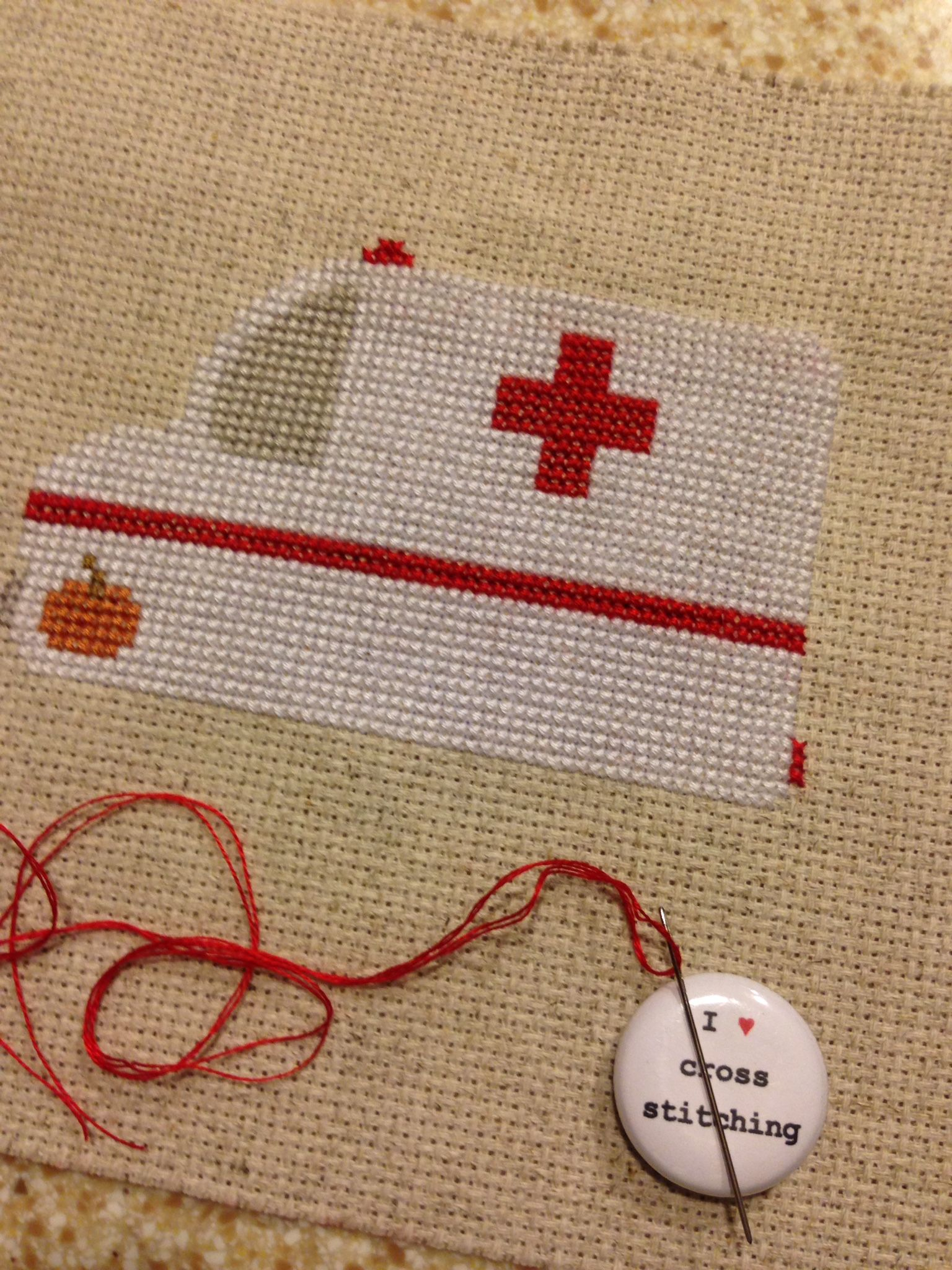 This is a cross stitch in progress for the front of a first aid kit I'm making...