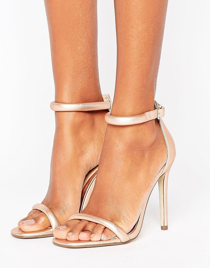 e3566e2df45 Missguided Rounded Strap Barely There Heeled Sandal Rose Gold - Pink