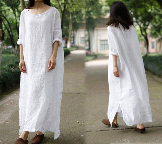 200--- oversized linen dress, white long dress, caftan maxi dress