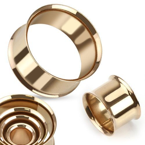 Double Flared Flesh Tunnels Rose Gold Plated - Sold in Pairs
