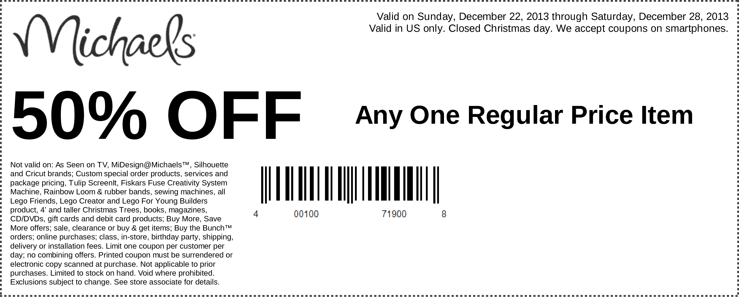 Pinned December 22nd 50 Off A Single Item At Michaels