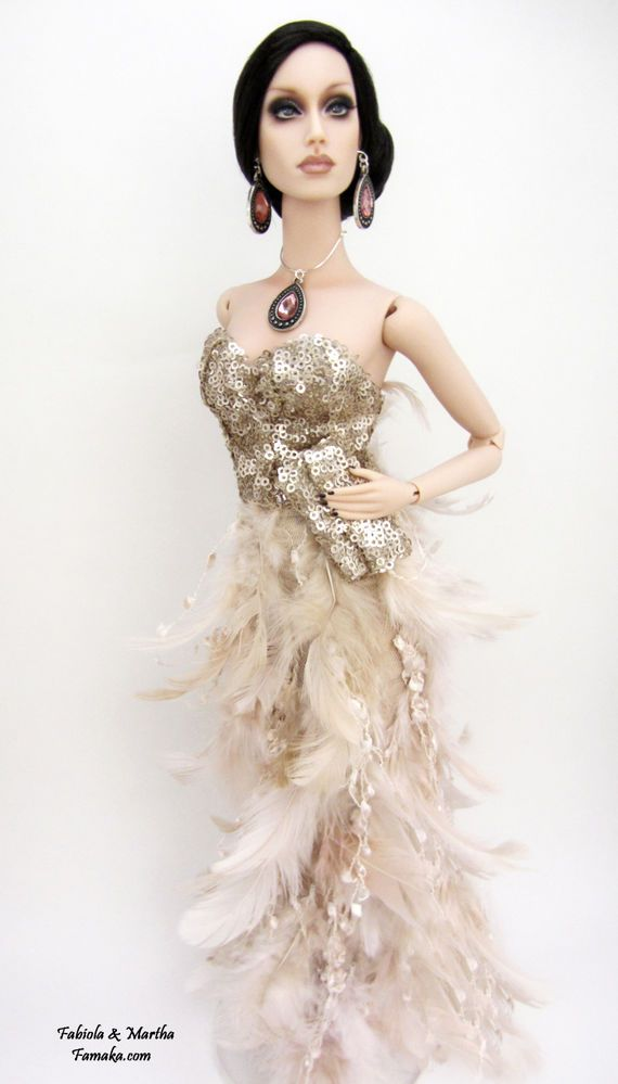 Peachy Pink Feather Couture Fashion for Sybarite SuperDoll