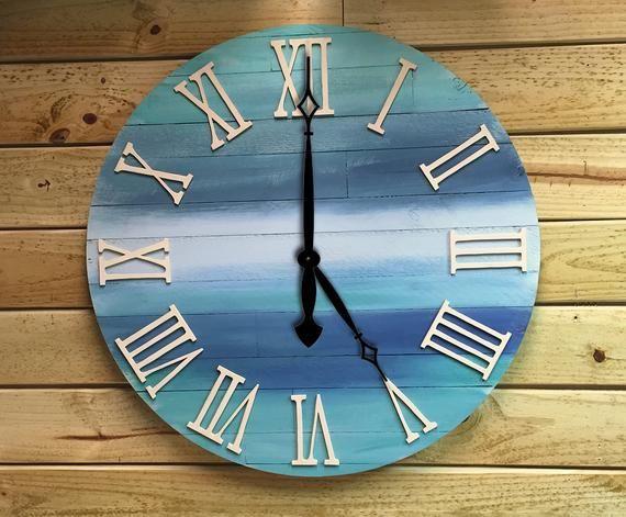 Unique Large Clock Reclaimed Wood Clock Wooden Wall Clock Wood Clock Extra Large Clock Decorative Clock Ocean Decor Clock Wood Clocks Homemade Clocks Diy Clock Wall