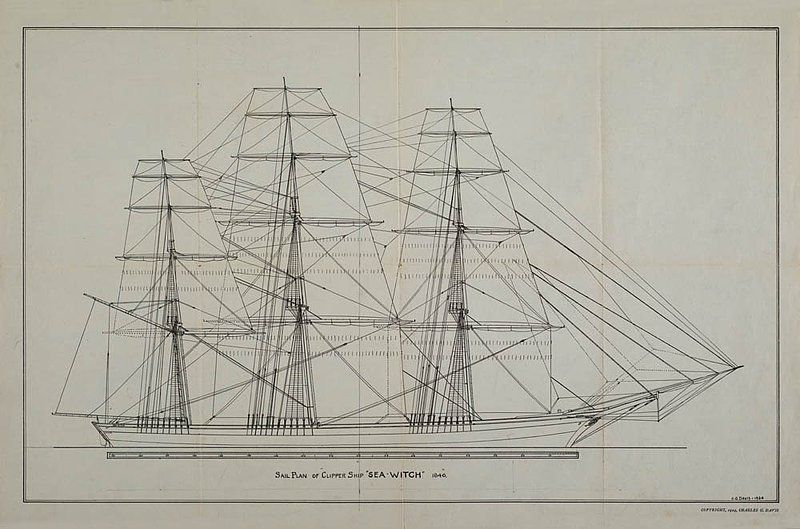 """""""Sea Witch"""", one of the very first Clippers, 1846. Sail Plan Designer: C.G. Davis"""