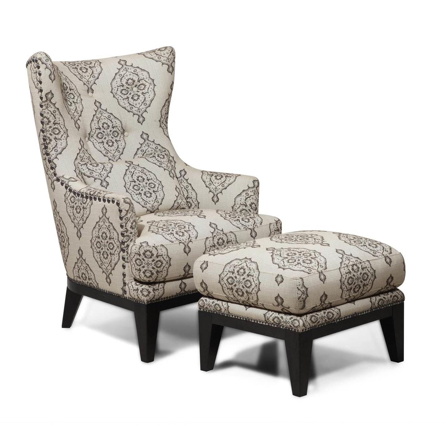 Beau Simon Li Kelsey Wingback Chair U0026 Ottoman