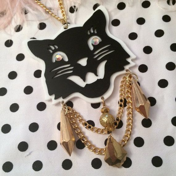 Black Cat Acrylic Necklace Long by imyourpresent on Etsy, $16.00