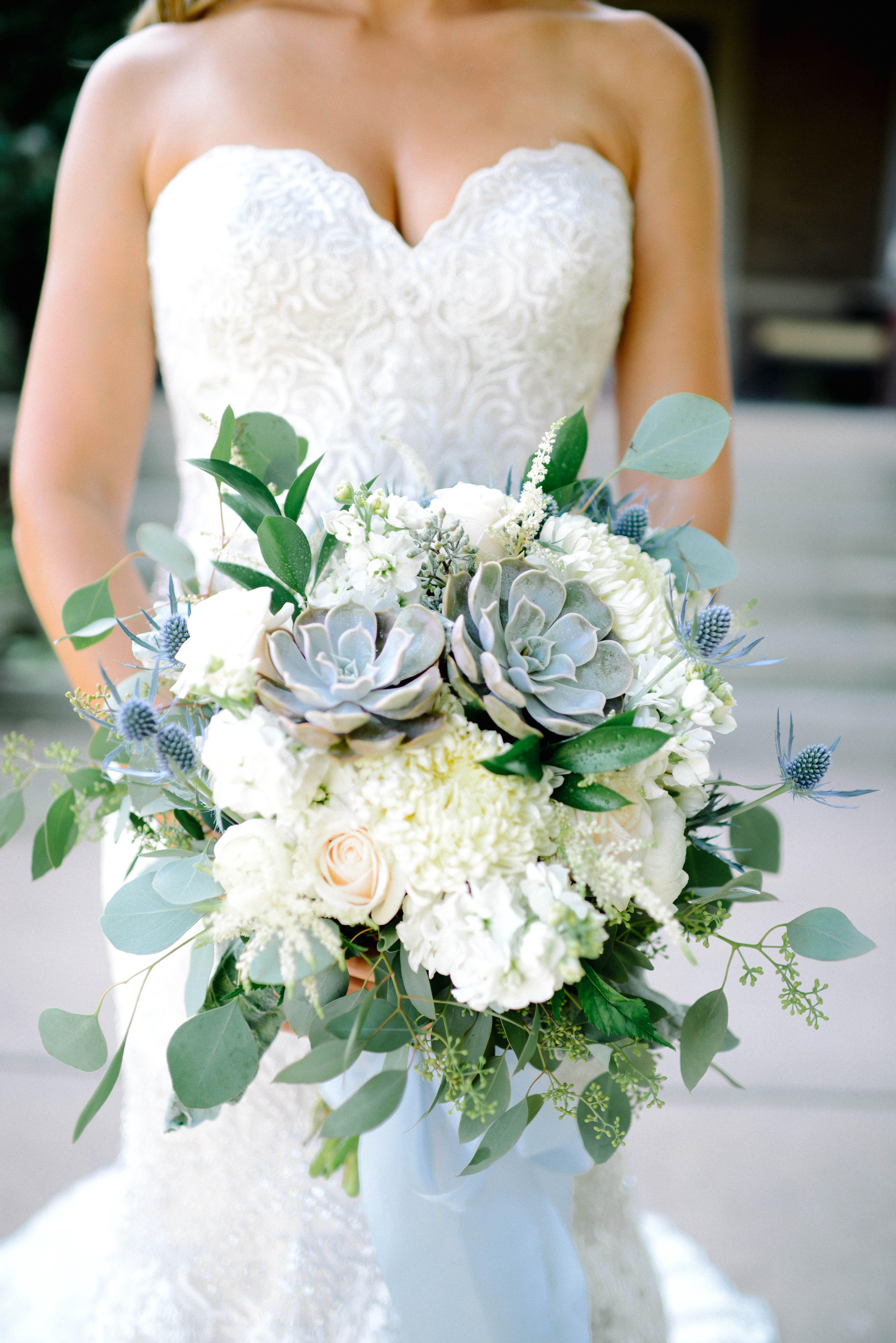 Eucalyptus and succulent wedding bouquet. wedding