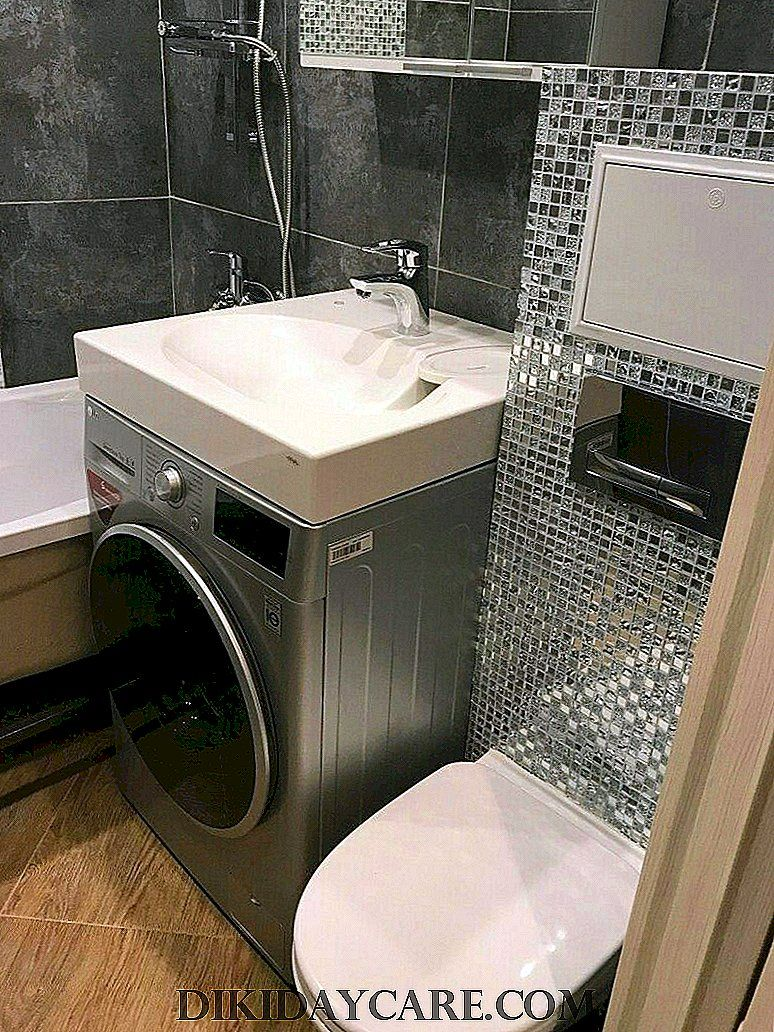 Sink over washing machine +75 photos, types and shapes ... on Small Space Small Bathroom Ideas With Washing Machine id=65593