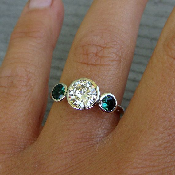 Forever Brilliant Moissanite, Chatham Emerald, and Recycled 14k White Gold Three-Stone Wedding or Engagement Ring - Eco-Friendly
