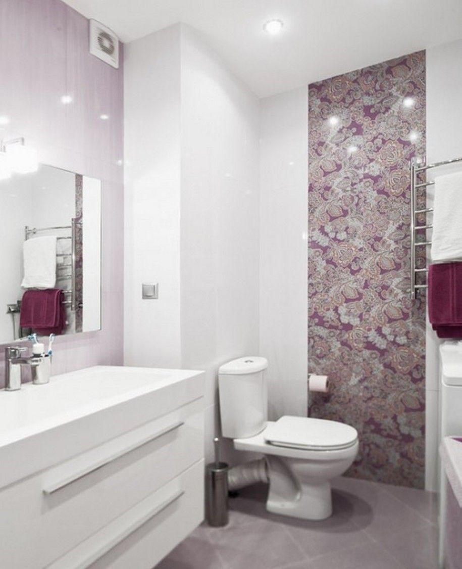 Outstanding cool and luxury purple bathroom wall decor : Grey Soft ...