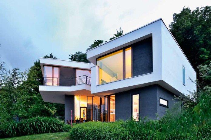 Kecke Moderne Dynamisches Hanghaus Style At Home Baukonstruktionen Moderne Gebaude