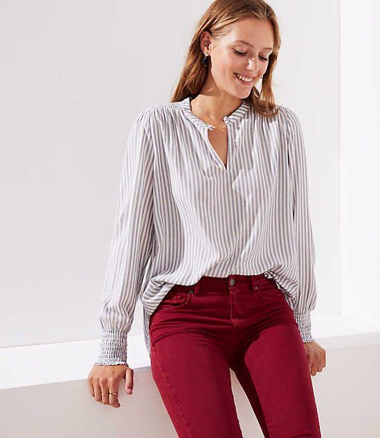 b29dbe55fdfce1 Petite Striped Smocked Cuff Blouse | LOFT.com Online Shopping ...