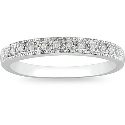1 10 Ct T W Diamond Milgrain Wedding Band In 10k White Gold Milgrain Wedding Bands Diamond Wedding Bands