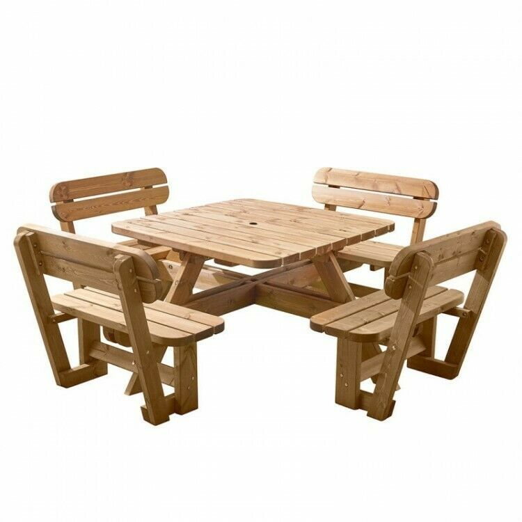 Awe Inspiring Wooden Picnic Table Bench With Backrest Rounded Corners Pabps2019 Chair Design Images Pabps2019Com