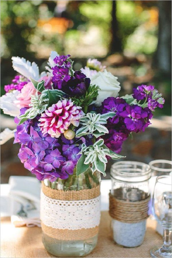 Lavender, burlap, and twine wedding in Sonoma / http://www.deerpearlflowers.com/rustic-wedding-ideas-with-burlap-touches/