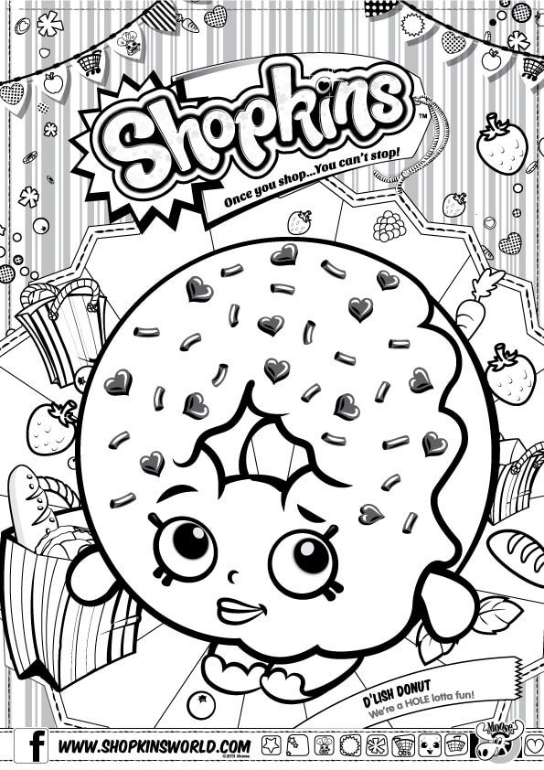 Shopkins Coloring Pages Season 1 D Lish Donut Shopkin Coloring