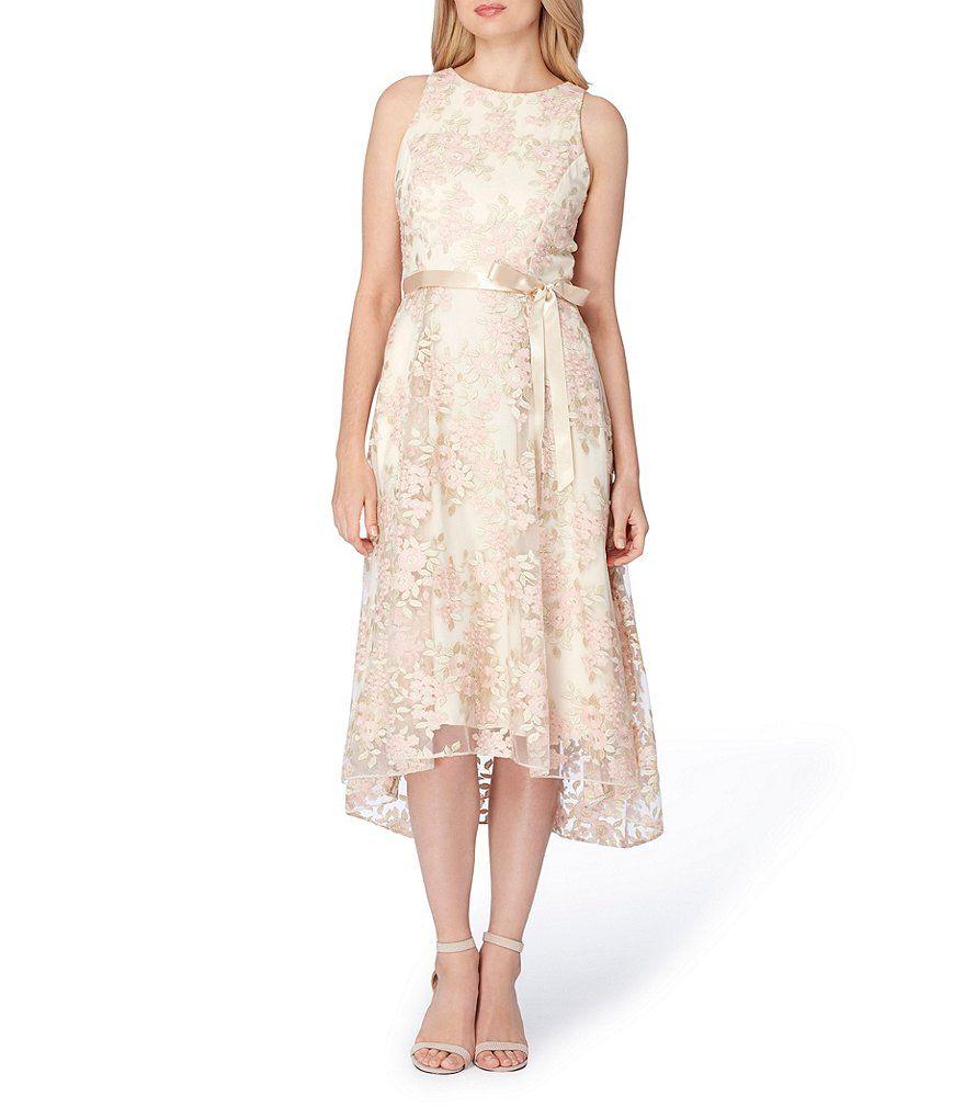 Tahari Asl Embroidered Fit Flare Hi Low Midi Dress With Images Tea Length Dresses Petite Cocktail Dresses Floral Embroidered Dress