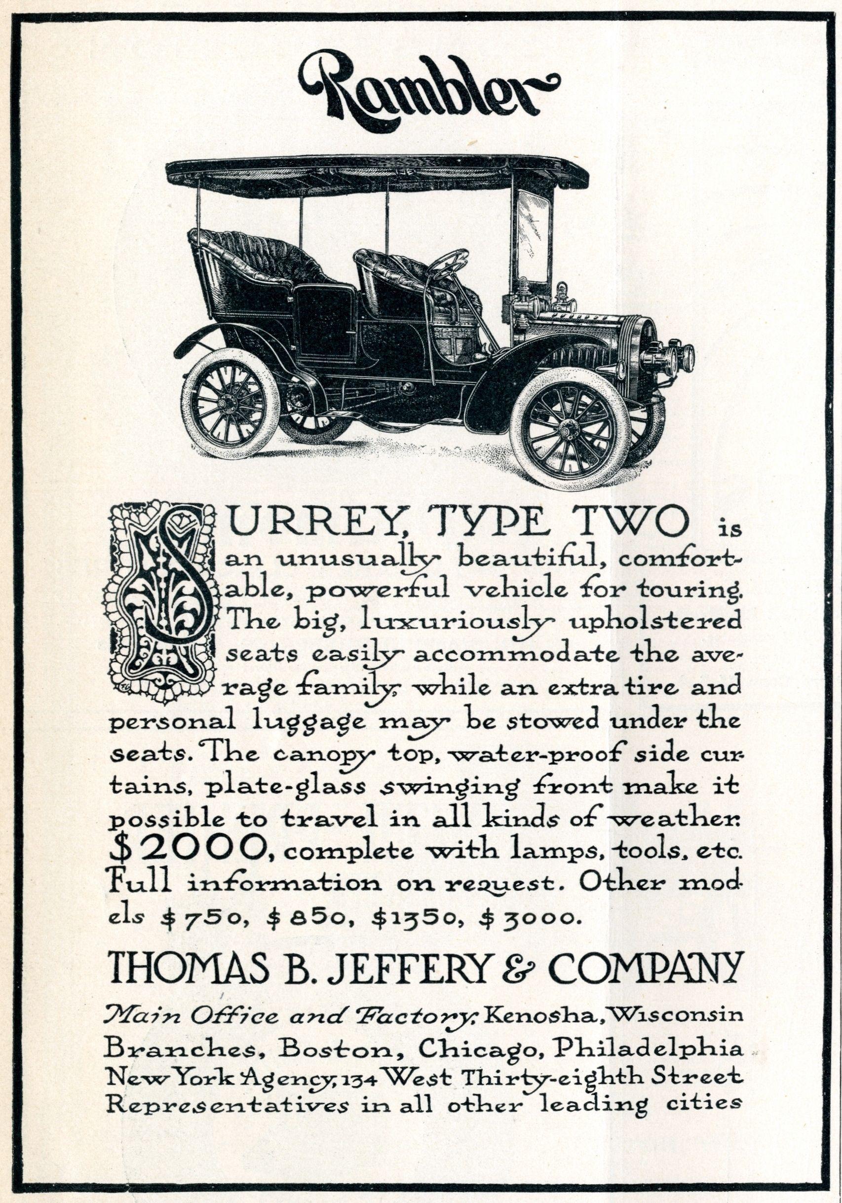 Jeffery Rambler - Life Auto Number - January 19, 1905 | 1905 ...
