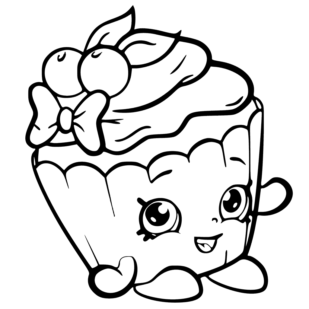 Cherry Nice Cupcake From Shopkins Season 6 Coloring Pages Printable And Book To Print For Free Find More Online Kids Adults