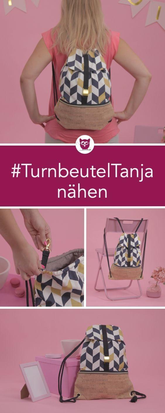 Photo of #TurnbeutelTanja aus dem #DIYeuleBuch nähen: Ein Turnbeutel mit Klappe, aus Can…