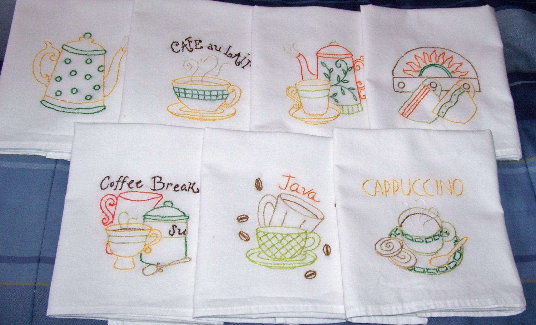 Sistema de mano bordadascafé té toalla/plato toalla por 1mamacyn2 ...
