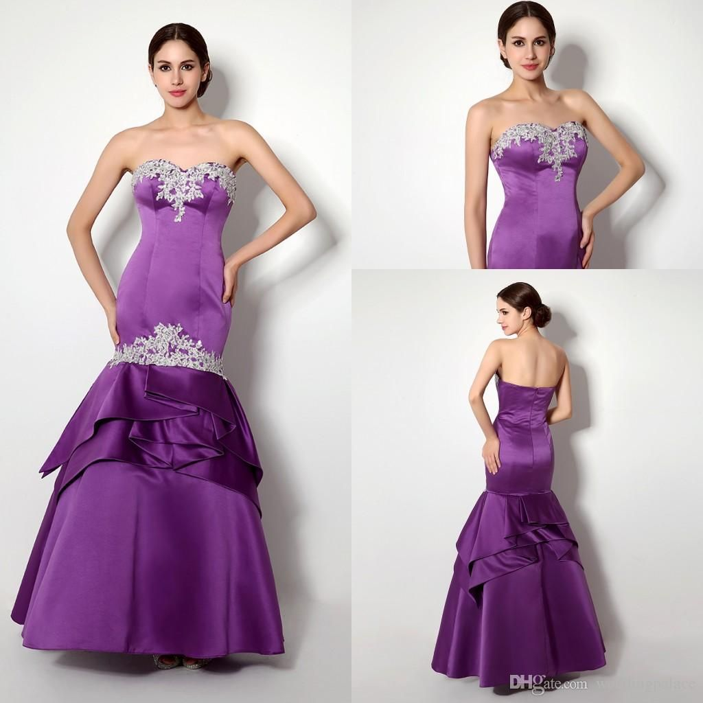 2015 Hot Sale Real Picture In Stock Sweetheart Appliques Satin Purple Color Amazing Mermaid Floor-length Evening Party Prom Dresses from Weddingpalace,$79.59 | DHgate.com