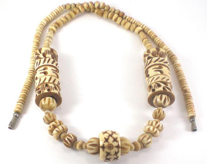 Carved Bone Necklace Tribal Bone Necklace African Necklace Boho Hippie Necklace Beige Brown Necklace Vinta African Necklace Brown Necklace Bone Necklace