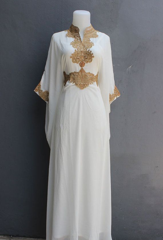 White Moroccan Maxi Kaftan Dress Bridesmaid Wedding Dress