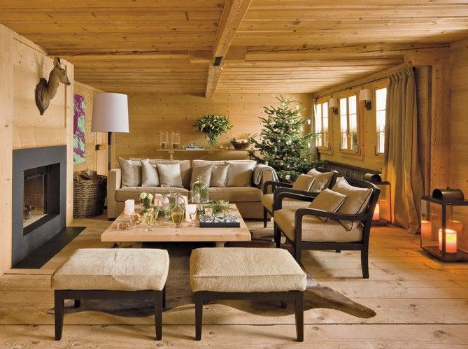 Salon style chalet en bois / Living-room in wood, chalet : http ...