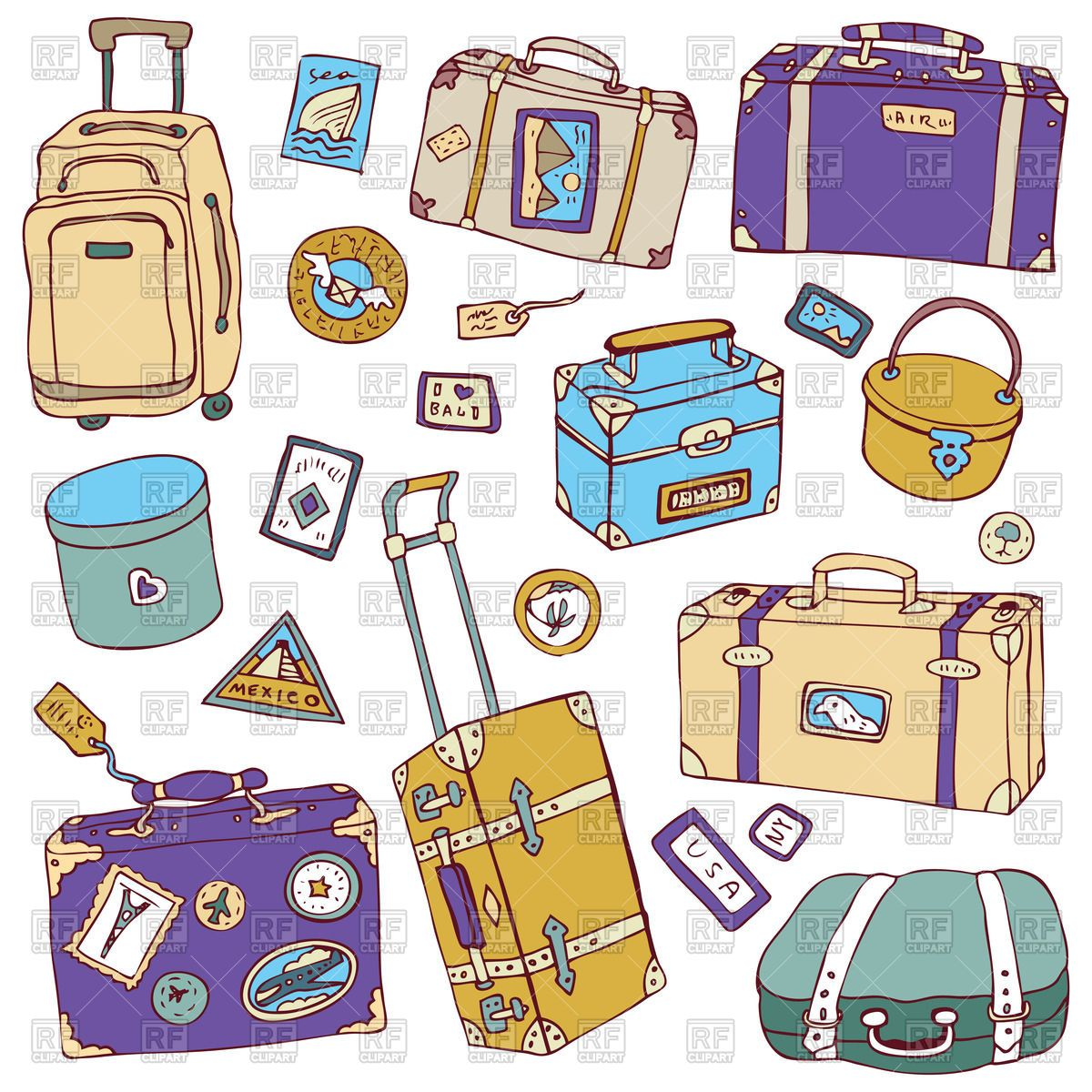 Set Of Travel Suitcases Vector Image Vector Illustration