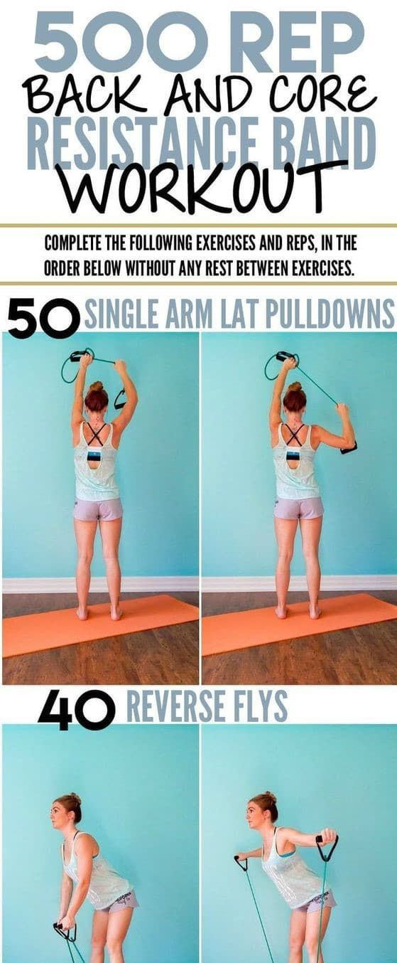 500 Rep back and core resistance band workout |   See the full article for 32 more exercises you can...