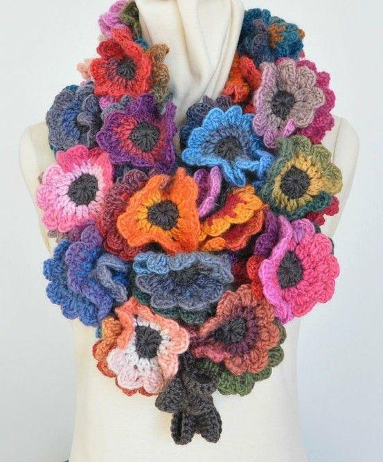 no pattern, just inspiration!  japanese crochet flower scarf pattern - Bing Images