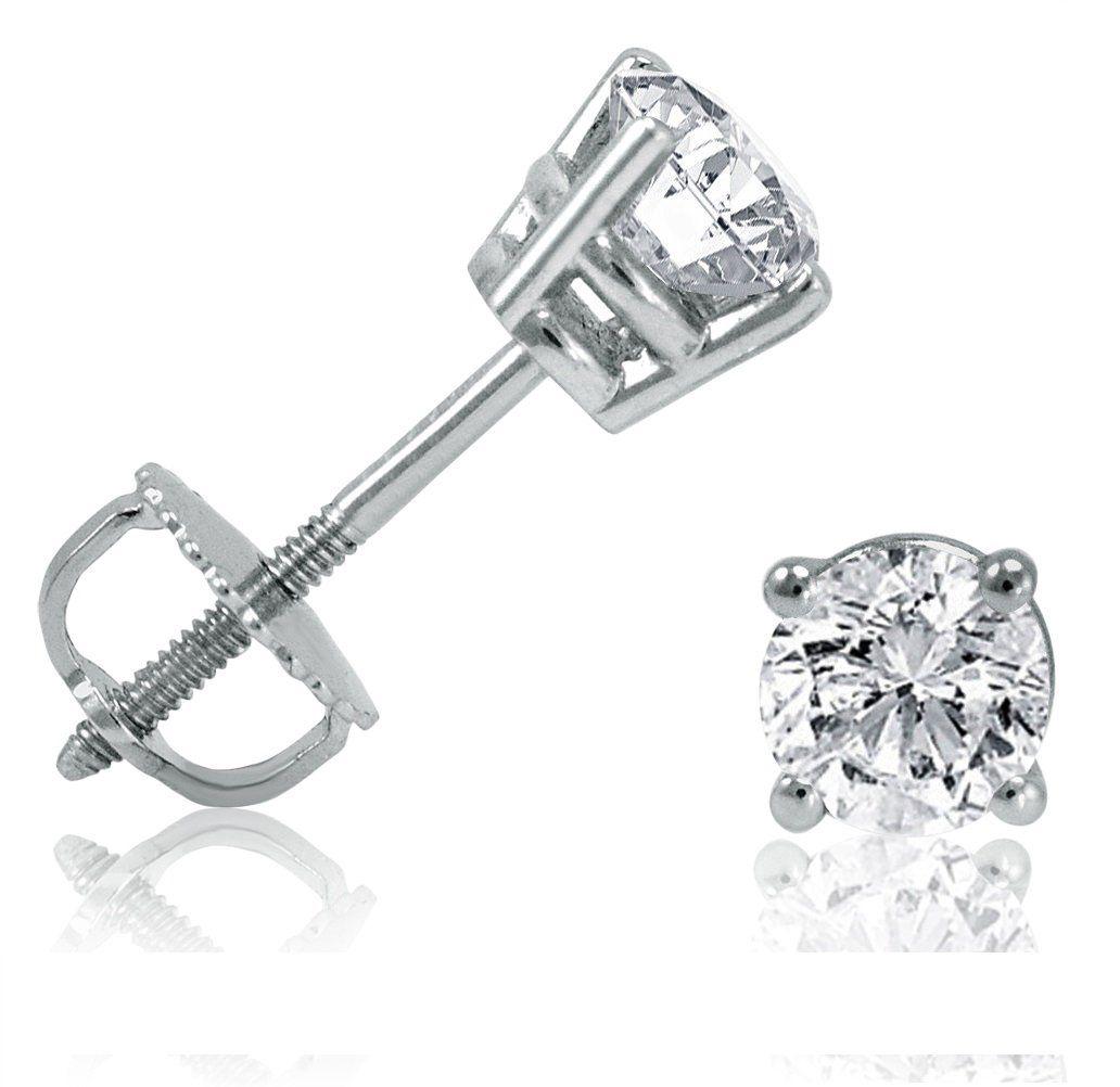 1/2ct Diamond Stud Earrings set in 14K White Gold. Two