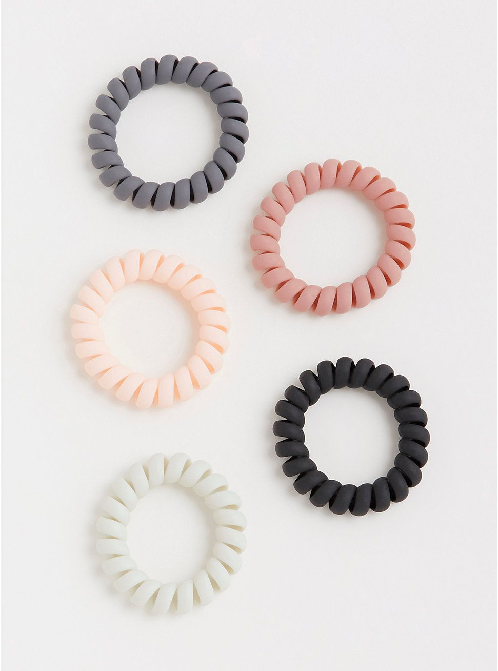 Plus Size Matte Coil Hair Tie Pack - Pack of 5 dba98a093f4