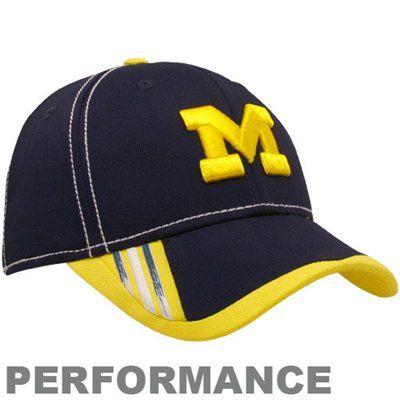 7c422faa60c03 adidas Michigan Wolverines Navy Blue Players Logo Structured Performance Flex  Hat