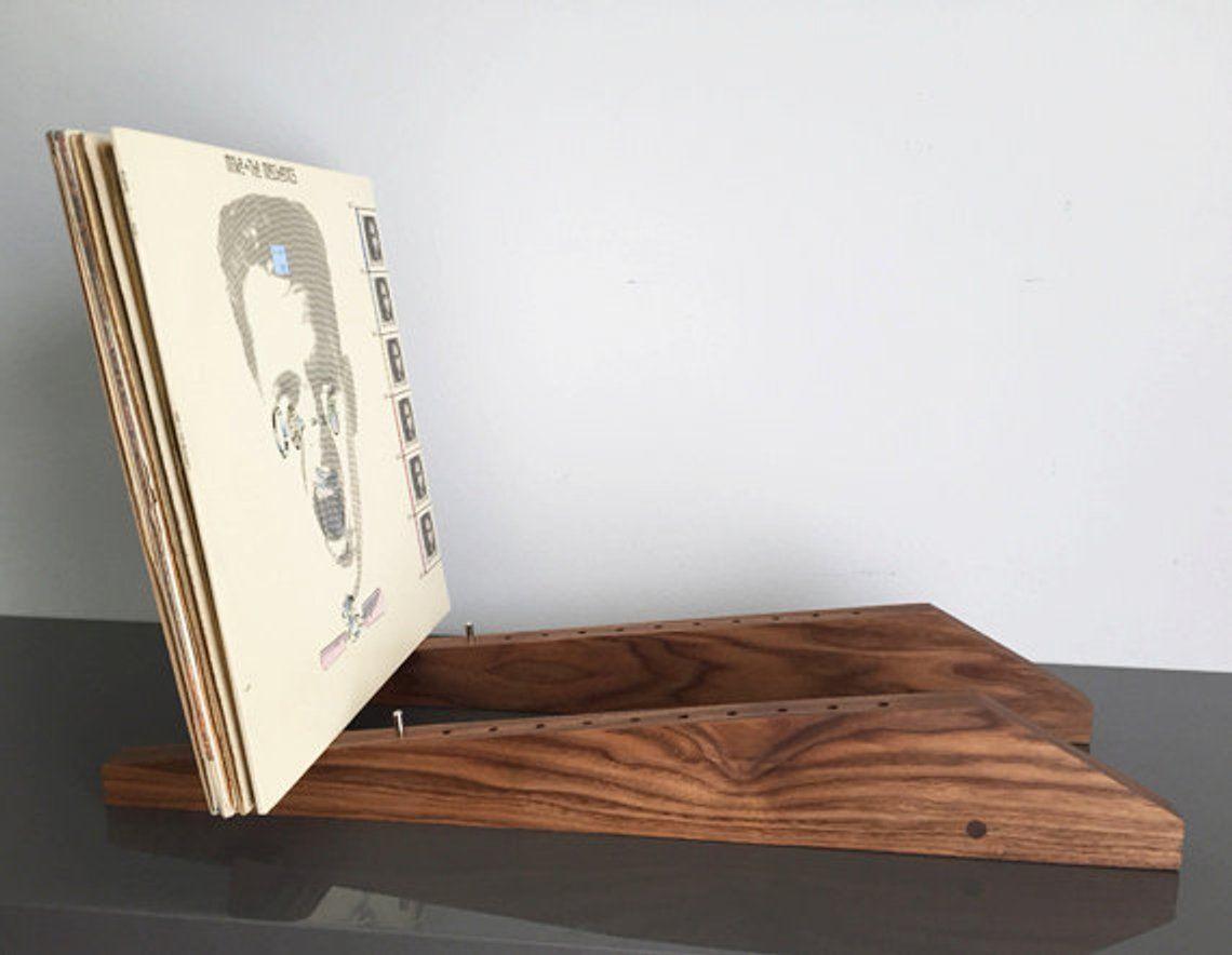 Modern Vinyl Lp Record Storage Display Holder In Walnut Holds Etsy Record Storage Lp Record Storage Vinyl Record Storage