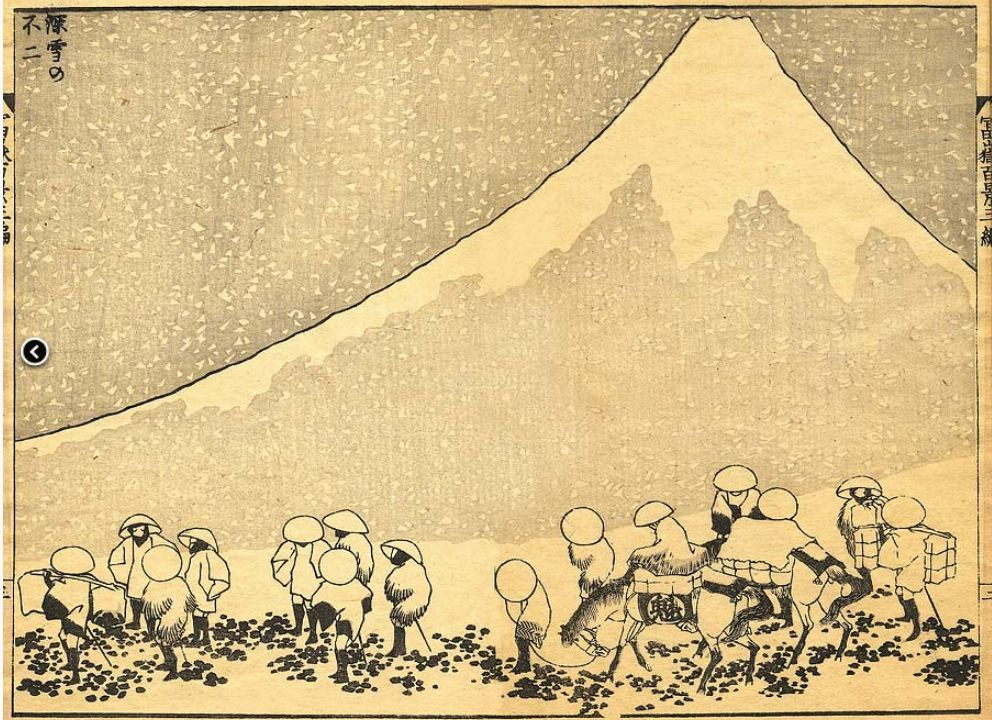 Mt. Fuji in Deep Snow by Hokusai