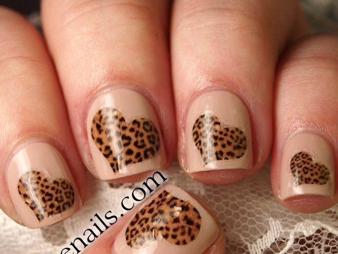 Leopard hearts nail art design