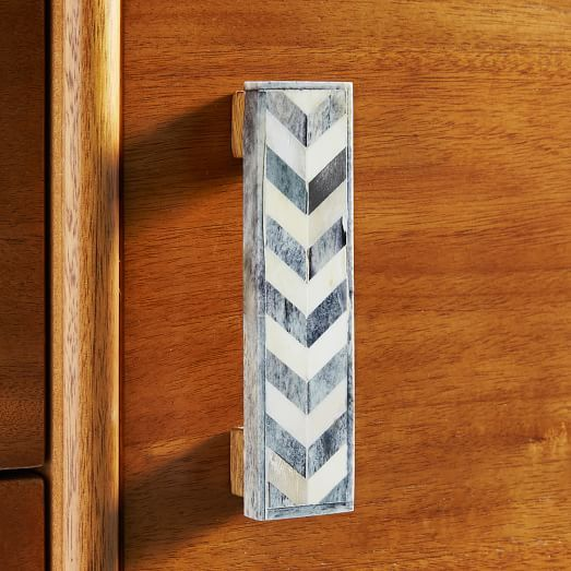 Bone Chevron Handle - Natural/Gray | West Elm