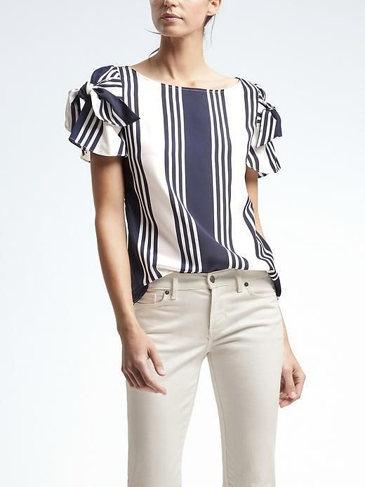 8398f5de88ddc9 Easy Care Stripe Bow-Sleeve Top