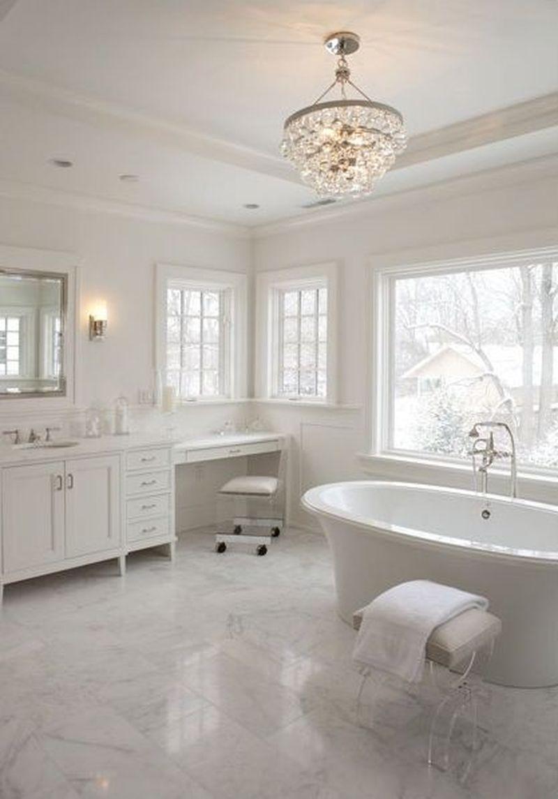 25 Contemporary Lighting Ideas For Your Bathroom Using Chandelier Godiygo Com White Bathroom Designs Modern Farmhouse Bathroom Bathroom Chandelier Lighting