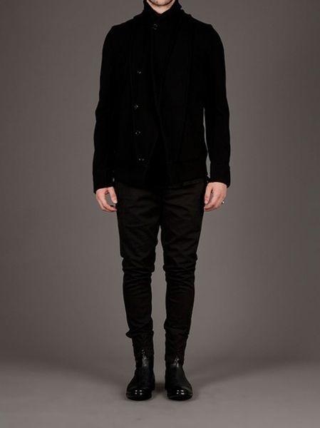 Ann Demeulemeester Asymmetric Cardigan in Black.