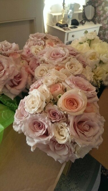 Pink and white spring bouquets