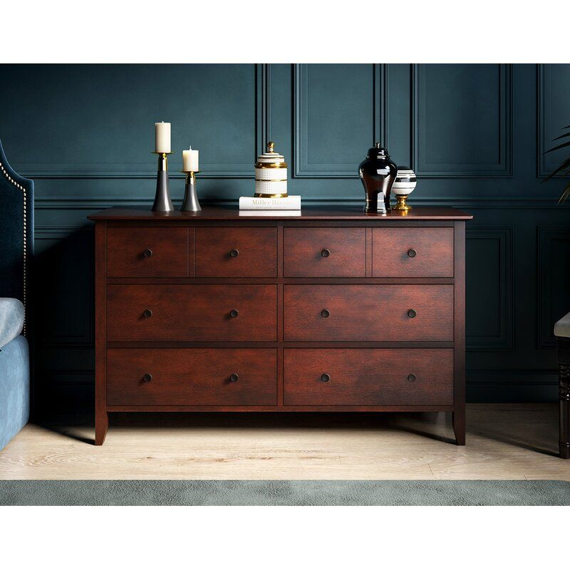 Tanya Modern Classic Grey 6 Drawers Wood Dresser Drawers Wood Dresser Dresser Drawers