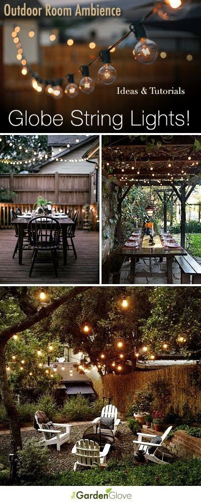 Outdoor String Lights Pinterest : Outdoor Room Ambience: Globe String Lights! Tips, Ideas and Tutorials! Outdoor Decor ...